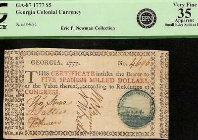 1777 $5 Dollar Blue Cannon Seal Georgia Colonial Currency Epn Note Ga-87 Pcgs 35