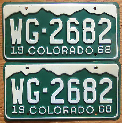 1968 Colorado License Plate Number Tag PAIR Plates