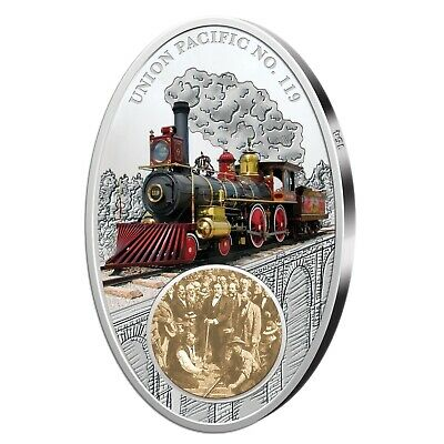 10 Dollar Moneda 2013 Fiji Union Pacific con Antique Finish y Glasint...