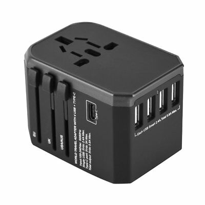 Universal Travel Adapter Converter Wall Charger 4 USB AC Power Plug US UK AU EU