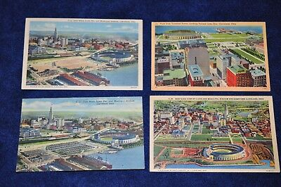 1940s Cleveland Indians Baseball Stadium Linen Postcard Lot (4) Good Used Cond.