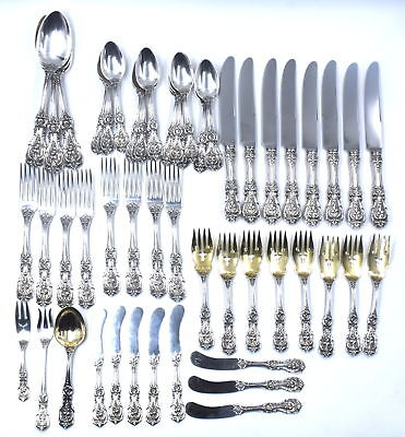 54 Pc Antique Reed & Barton Francis I Flatware Set Service For 8 Sterling Silver