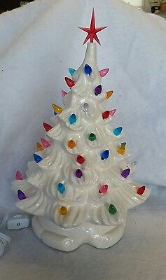 Ceramic Christmas White Tree Vintage Ribbon Base New Made In Usa