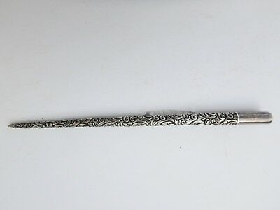 Antique Victorian Sterling Silver Repousse Fountain Dip Writing Pen Vintage Old