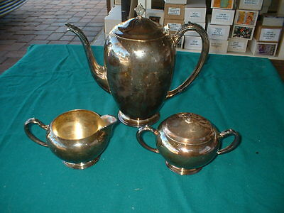 Silverplate Coffee Or Tea Set, Salt & Pepper Shakers, Tray. Used