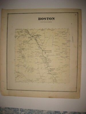 Vintage Antique 1866 Boston Patchin Erie County New York Handoclored Map Rare Nr
