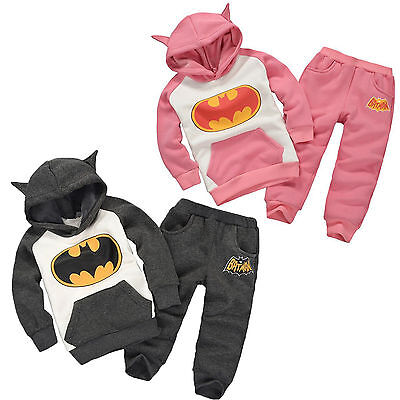 Batman Outfits Set Kids Boys Girls Long Sleeve Hoodie Pants Tracksuit Clothes