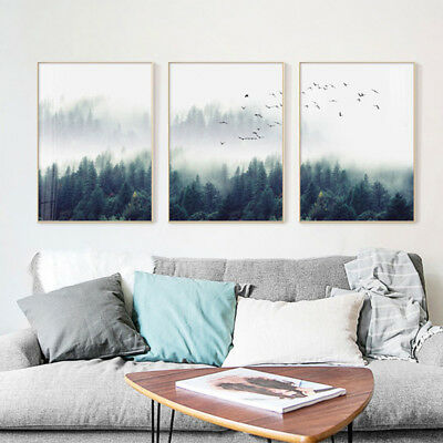 Nordic Flying Bird Forest Foggy Canvas Art Poster Print Wall Picture Home Decor