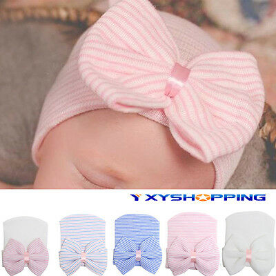 Newborn Baby Boy Girl Colorful Striped bowknot Soft Bow Cap Casual Beanie Hat
