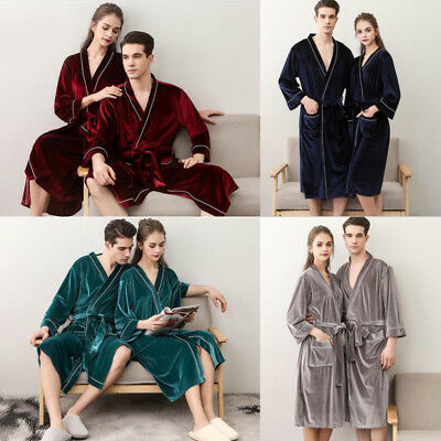 7d8bff6dd7 New Velvet lovers Women Men Cotton Bath Robe Sweat Kimono Bathrobe Nightgown