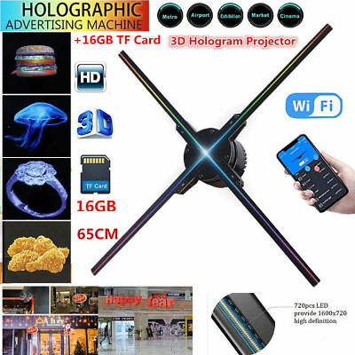 Portable 3D Hologram player Advertising Projector LED Dispaly Fan 65CM 4 Fans