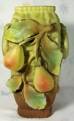 Vintage Antique Majolica Hand Painted Vase Pear-Fruit Decor 1920s Old Piece