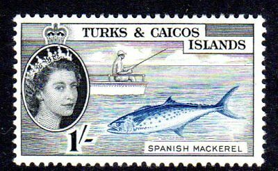 1957 TURKS & CAICOS ISLANDS 1/- Spanish mackerel SG246 mint very light hinged