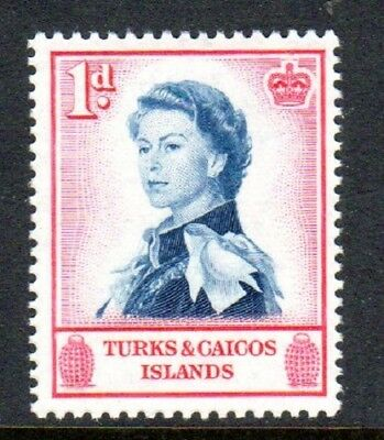1957 TURKS & CAICOS ISLANDS 1d Queen Elizabeth SG237 mint very light hinged