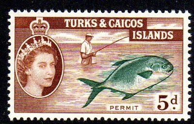 1957 TURKS & CAICOS ISLANDS 5d permit fish SG243 mint very light hinged