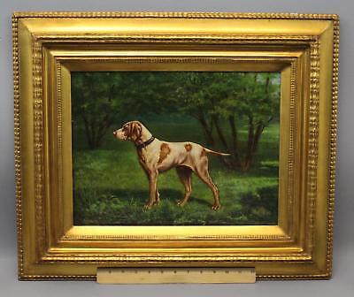 Antique 19thC American Oil Painting, English Pointer Hunting Dog Portrait, NR