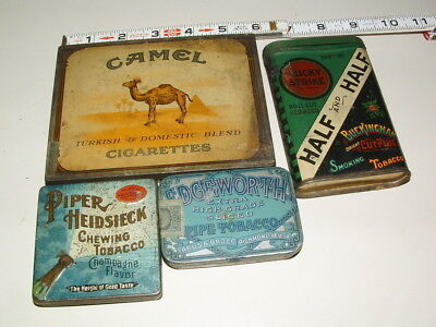 Vintage Lot Of ( 4 ) Tin Litho Tobacco Tin Cans  # 1