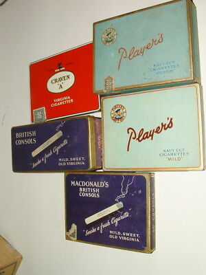 Vintage Lot Of ( 5 ) Tin Litho British Tobacco Tin Cans  # 2