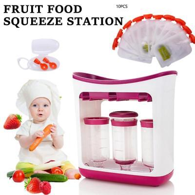 Fresh Fruit Squeeze Station Pouches Baby Weaning Food Spoon Puree Maker