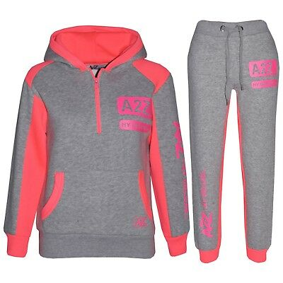 Kids Girls Jogging Suit Grey & Neon Pink Designer's Tracksuit Zipped Top Bottom