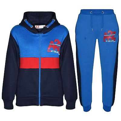 Kids Girls Jogging Suit Navy Designer's Tracksuit Zipped Top Bottom 5-13 Years