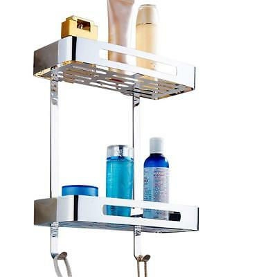Stainless Steel Two Tier Wall Hanging Rectangle Bathroom Shelf