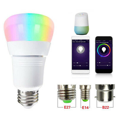 WiFi Smart LED Light Bulb Dimmable 15W RGB E27 B22 Lamp For Alexa Google Home