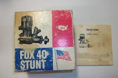 -FOX- .40 C/L STUNT MODEL AIRPLANE ENGINE  IN BOX with INSTR. V. GOOD CONDITION
