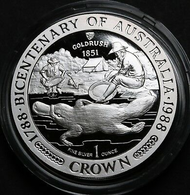 1988 Isle of Man Crown 1oz Silver Proof  Australian Bicentennial Gold Rush RARE
