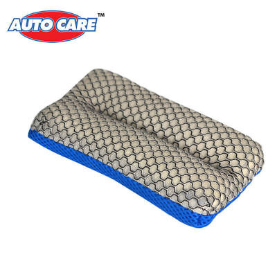 Autocare Remove Bugs and Tar Two-sided Microfiber Mesh Sponge for Car Washing