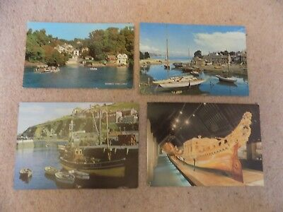 Collection of 4 Old Postcards of British Ships Boats etc Unposted