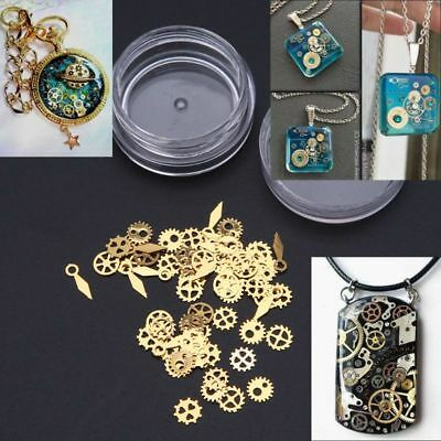 60Pcs Mixed Cogs Steampunk Gears Clock Hand Charm UV Frame Resin Jewelry Filling