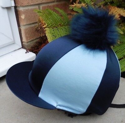 Riding Hat Silk skull cap cover NAVY & BABY BLUE Extra Large Faux Fur Pompom