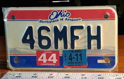 MOTORCYCLE LICENSE PLATE - OHIO - 2011 Birthplace of Aviation - nice r/w/b
