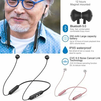 Wireless Bluetooth5.0 Headphones Neckband Headset Earphone for All Mobile iPhone
