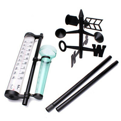 Outdoor Lawn & Garden Weather Station Thermometer With Weather Vane & Rain Gauge