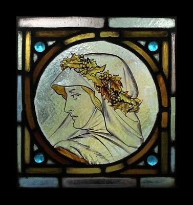 Rare Stunning Pre-Raphaelite Maiden Stained Glass Painted Stained Glass Window