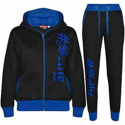 Kids Girls Boys Tracksuit Designer's #Selfie Blue Top Bottom Jogging Suit 5-13Yr