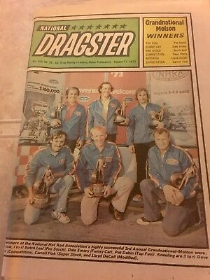 National Dragster August 1973 Racing NHRA See Emery Estate Pics W/ Further Info