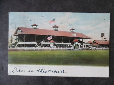 1908 New Orleans Louisiana City Park Race Track Postcard & Cancel