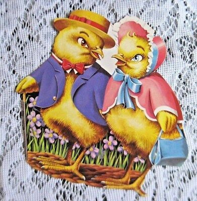 Vintage 1960s Dennison Die Cut Easter Chicks in Easter Outfits~5  X 6