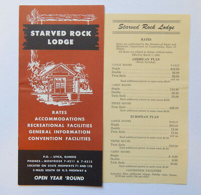 Starved Rock Lodge Illinois State Park Brochure & Rates (1962)