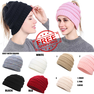 Womens CC Beanie Tail Messy High Bun Ponytail Hat Knit Winter Cap Hole Slouchy