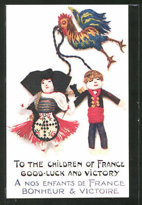 AK To the Children of France - Good Luck and Victory, Puppen