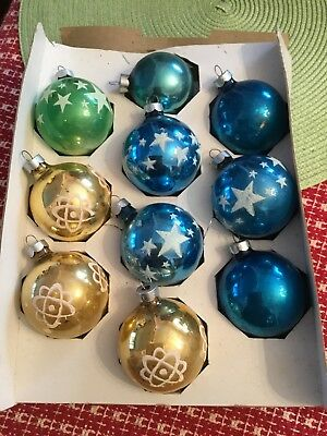 Vintage Mid Century 1950 Glass Christmas Ornaments Atomic Stencil Mica Lot of 10