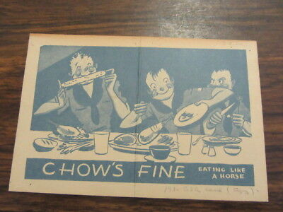 Chow's Fine Eating Like a Horse,  Boy Scout Card   1930's