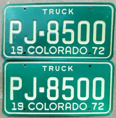 1974 Colorado License Plate Number Tag PAIR Plates