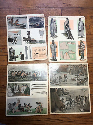 Vtg 1930 Comptons Teaching Aid Native American Indian Plates Picture Prints x 4