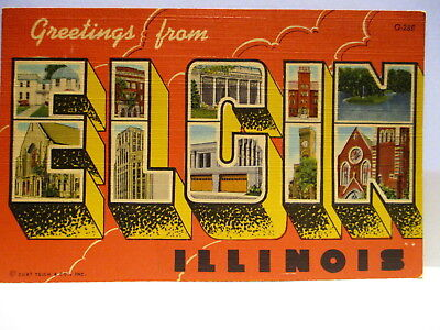 1940s POSTCARD LARGE LETTER GREETINGS FROM ELGIN ILLINOIS