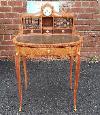 19th Century French Satinwood Parquetry Bonheur Du Jour Ladies Writing Desk 1880